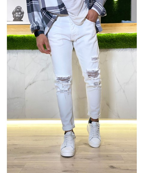 Jeans drill bianco con...