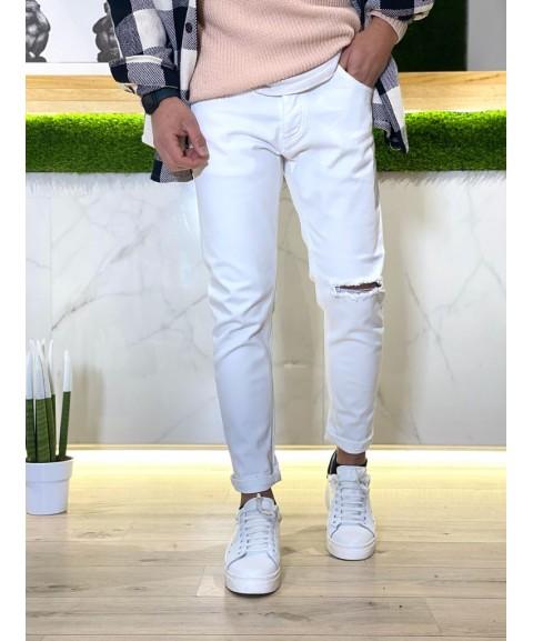 Jeans bianco elastico con...